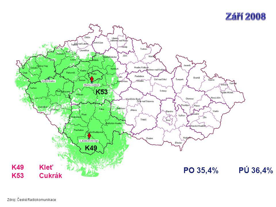 PO 35,4%PÚ 36,4% K53 K49 K49Kleť K53Cukrák Zdroj: České Radiokomunikace