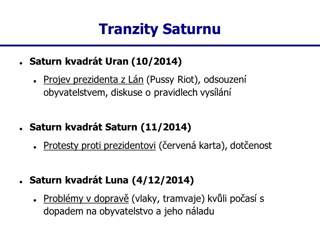 Tranzity Saturnu Saturn kvadrát Uran (10/2014) Projev prezidenta z Lán (Pussy Riot), odsouzení obyvatelstvem, diskuse o pravidlech vysílání Saturn kva