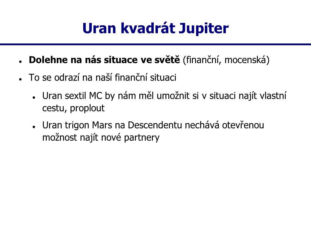 Uran kvadrát Jupiter Dolehne na nás situace ve světě (finanční, mocenská) To se odrazí na naší finanční situaci Uran sextil MC by nám měl umožnit si v