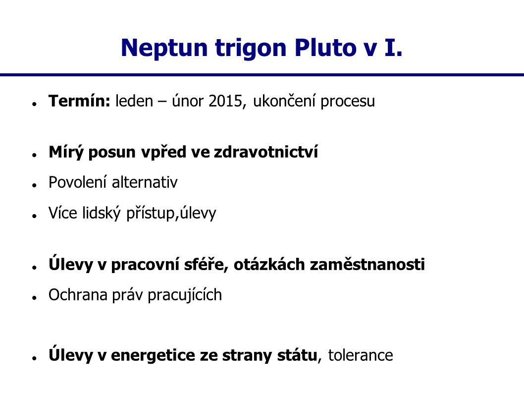 Neptun trigon Pluto v I. Termín: leden – únor 2015, ukončení procesu Mírý posun vpřed ve zdravotnictví Povolení alternativ Více lidský přístup,úlevy Ú