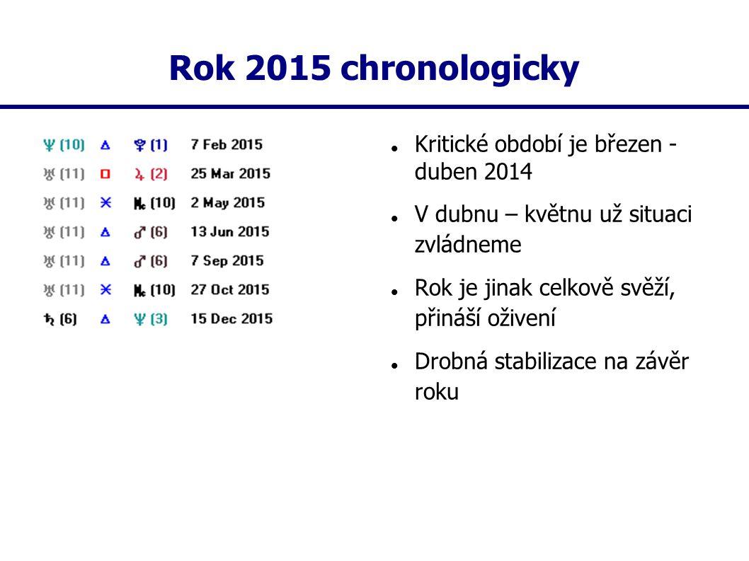 Rok 2015 chronologicky Kritické období je březen - duben 2014 V dubnu – květnu už situaci zvládneme Rok je jinak celkově svěží, přináší oživení Drobná