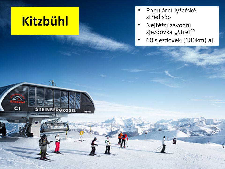"""Kitzbühl Populární lyžařské středisko Nejtěžší závodní sjezdovka """"Streif"""" 60 sjezdovek (180km) aj."""