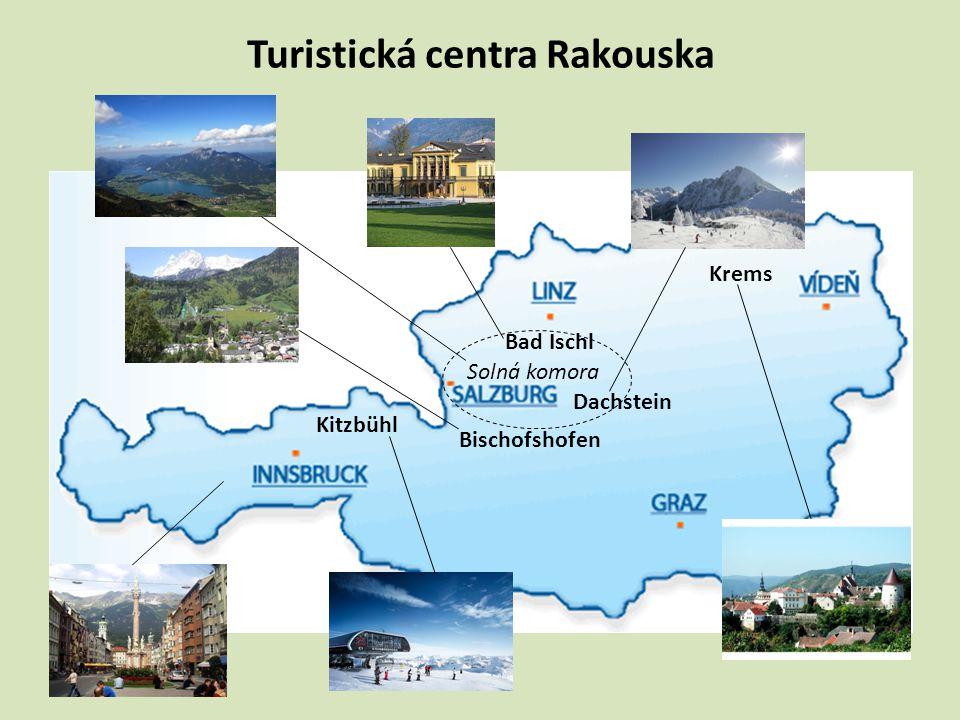 Turistická centra Rakouska Dachstein Bischofshofen Kitzbühl Solná komora Bad Ischl Krems