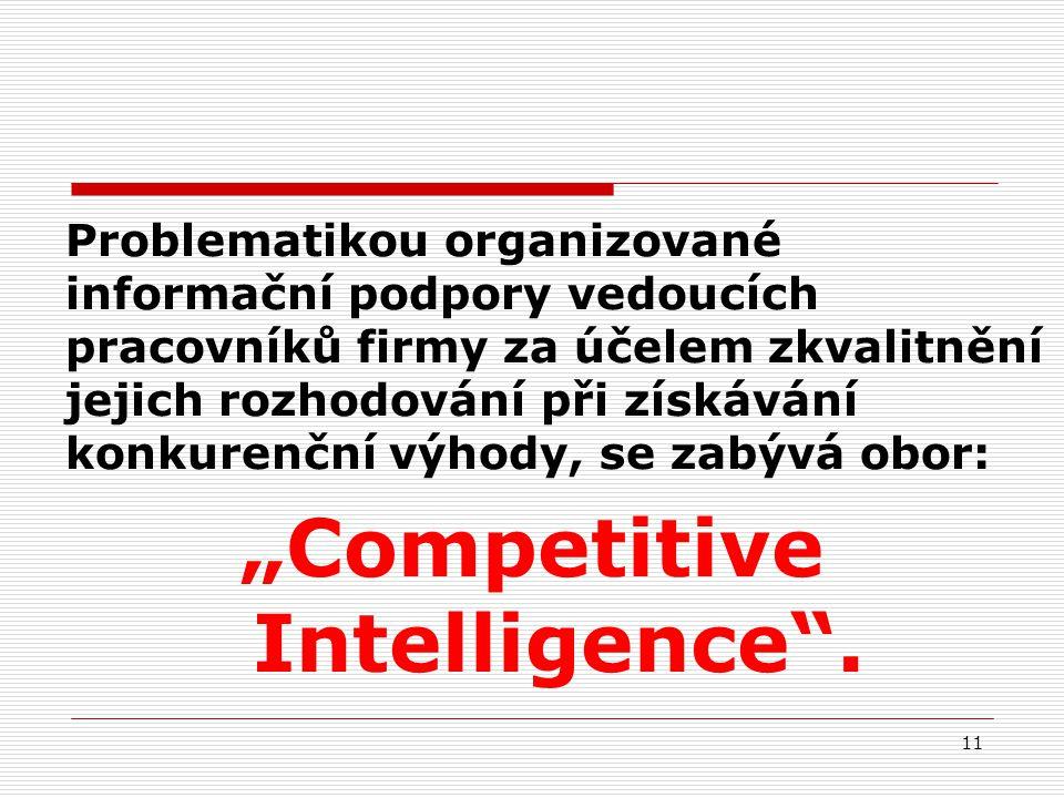 """Problematikou organizované informační podpory vedoucích pracovníků firmy za účelem zkvalitnění jejich rozhodování při získávání konkurenční výhody, se zabývá obor: """"Competitive Intelligence ."""