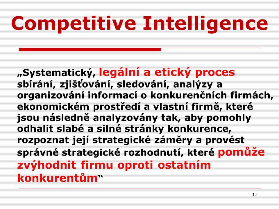 """Competitive Intelligence """"Systematický, legální a etický proces sbírání, zjišťování, sledování, analýzy a organizování informací o konkurenčních firmách, ekonomickém prostředí a vlastní firmě, které jsou následně analyzovány tak, aby pomohly odhalit slabé a silné stránky konkurence, rozpoznat její strategické záměry a provést správné strategické rozhodnutí, které pomůže zvýhodnit firmu oproti ostatním konkurentům 12"""