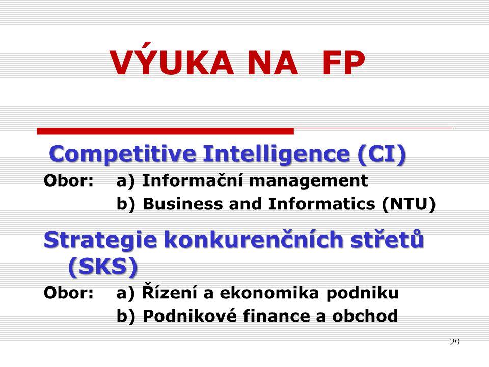 VÝUKA NA FP Competitive Intelligence (CI) Competitive Intelligence (CI) Obor: a) Informační management b) Business and Informatics (NTU) Strategie konkurenčních střetů (SKS) Obor:a) Řízení a ekonomika podniku b) Podnikové finance a obchod 29
