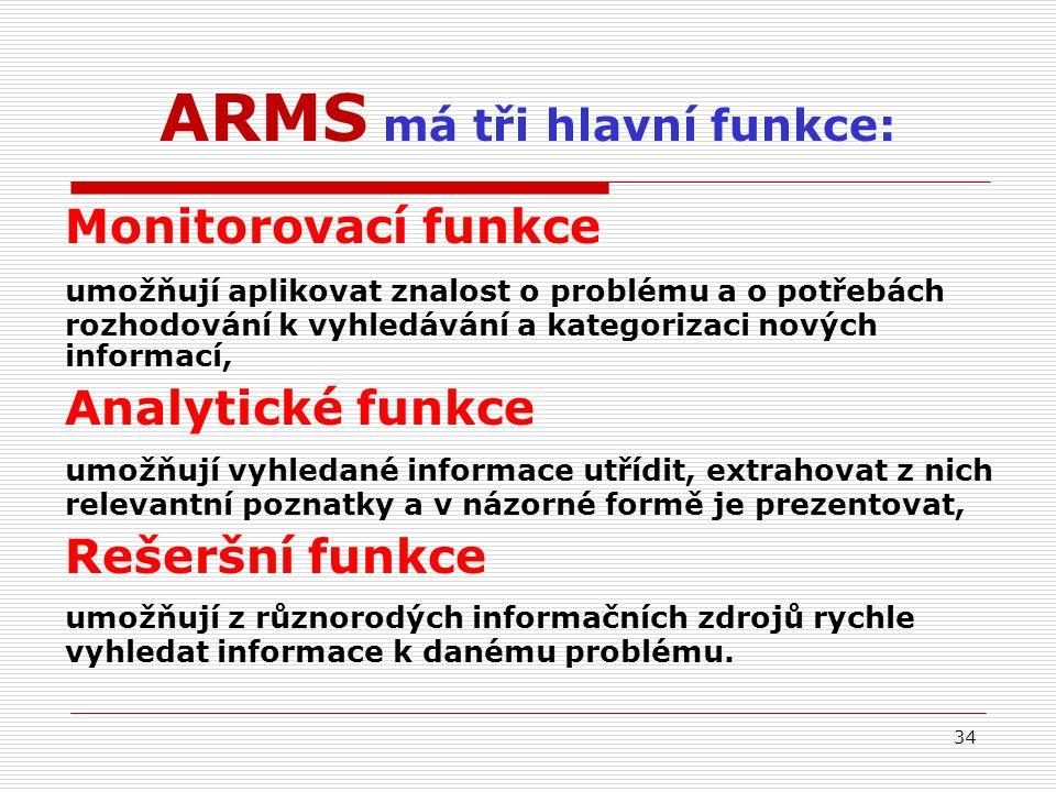 ARMS má tři hlavní funkce: Monitorovací funkce umožňují aplikovat znalost o problému a o potřebách rozhodování k vyhledávání a kategorizaci nových informací, Analytické funkce umožňují vyhledané informace utřídit, extrahovat z nich relevantní poznatky a v názorné formě je prezentovat, Rešeršní funkce umožňují z různorodých informačních zdrojů rychle vyhledat informace k danému problému.