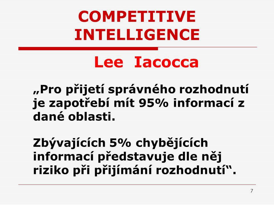"""COMPETITIVE INTELLIGENCE Lee Iacocca """"Pro přijetí správného rozhodnutí je zapotřebí mít 95% informací z dané oblasti. Zbývajících 5% chybějících infor"""