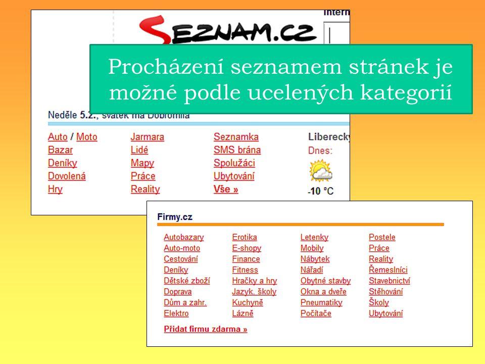 Procházení seznamem stránek je možné podle ucelených kategorií