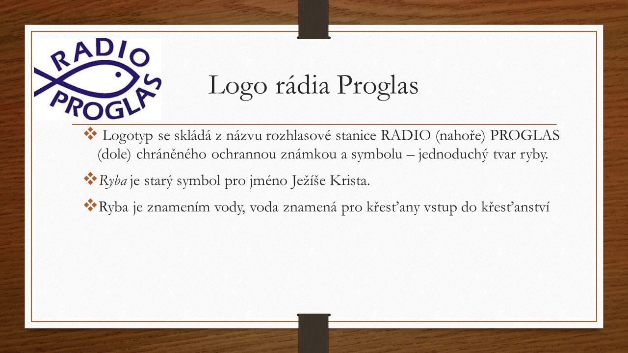 Logo rádia Proglas  Logotyp se skládá z názvu rozhlasové stanice RADIO (nahoře) PROGLAS (dole) chráněného ochrannou známkou a symbolu – jednoduchý tv