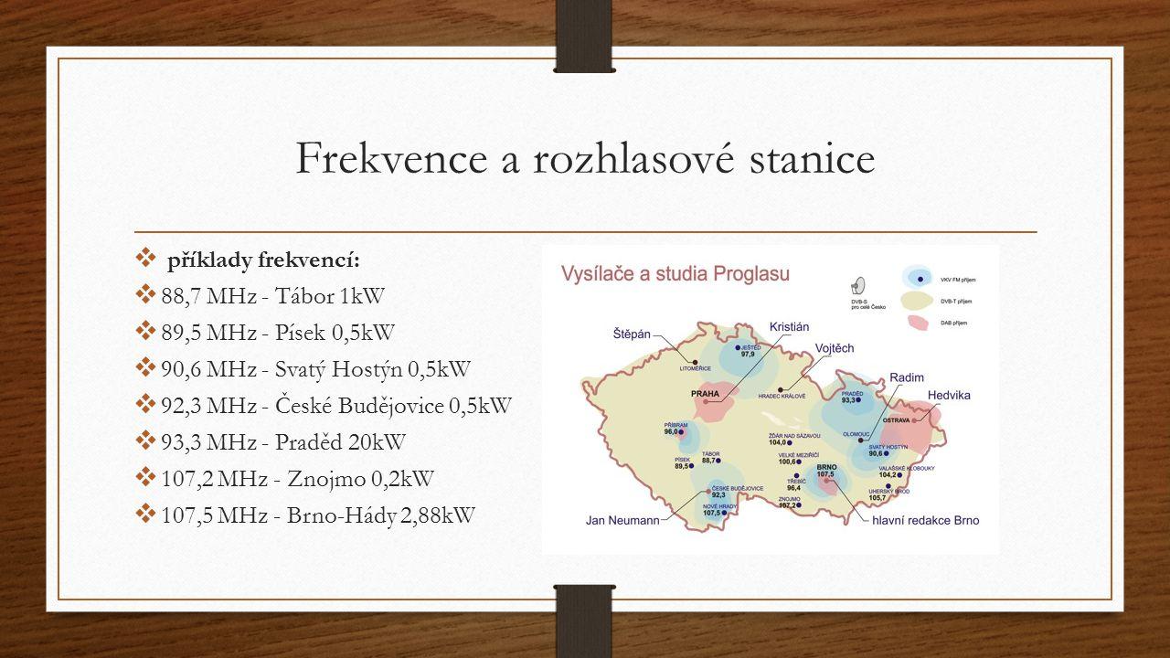 Frekvence a rozhlasové stanice  příklady frekvencí:  88,7 MHz - Tábor 1kW  89,5 MHz - Písek 0,5kW  90,6 MHz - Svatý Hostýn 0,5kW  92,3 MHz - Česk