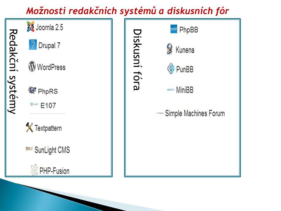 Možnosti redakčních systémů a diskusních fór Redakční systémyDiskusní fóra