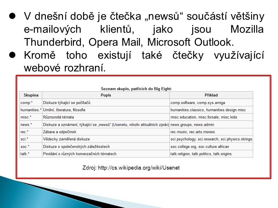 """V dnešní době je čtečka """"newsů součástí většiny e-mailových klientů, jako jsou Mozilla Thunderbird, Opera Mail, Microsoft Outlook."""
