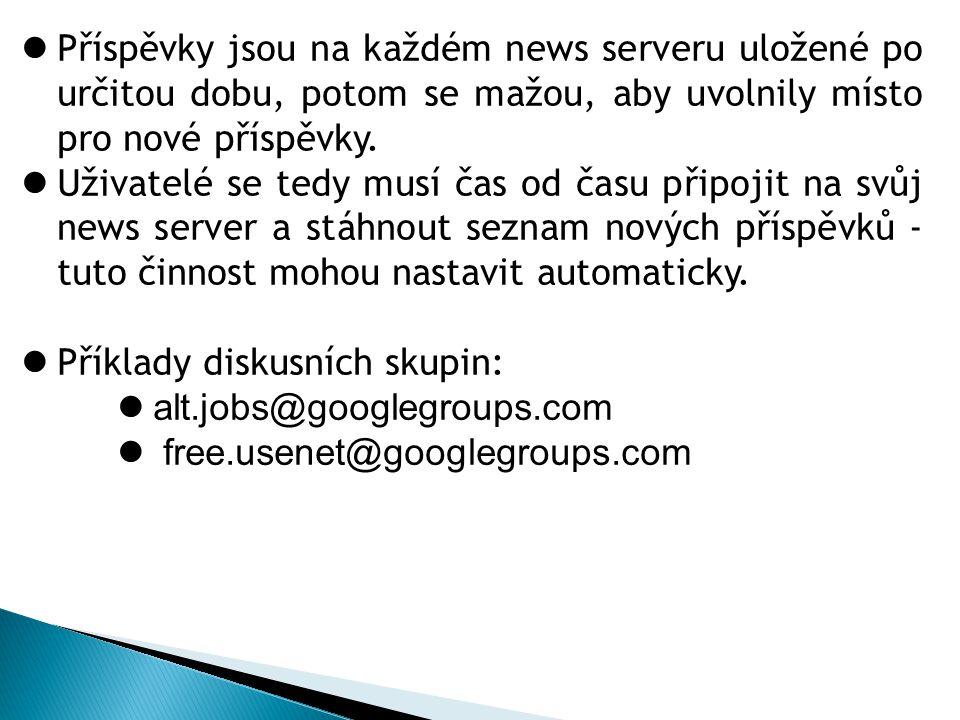 3.E-mailová diskusní skupina (mailing list) Využívá pro svůj provoz e-mailovou komunikaci.