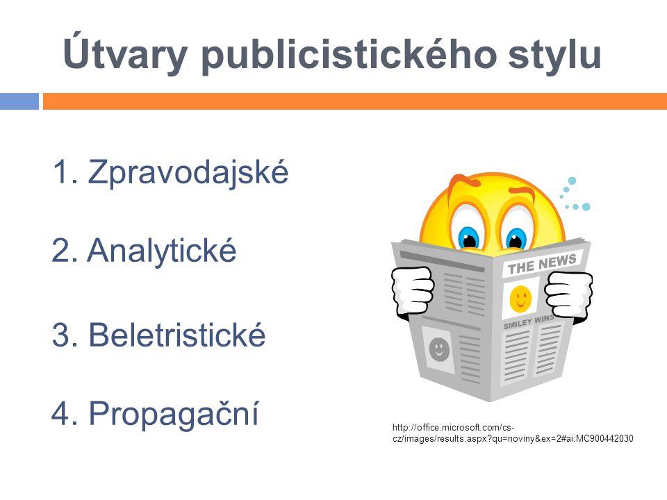 Útvary publicistického stylu 1. Zpravodajské 2. Analytické 3. Beletristické 4. Propagační http://office.microsoft.com/cs- cz/images/results.aspx?qu=no