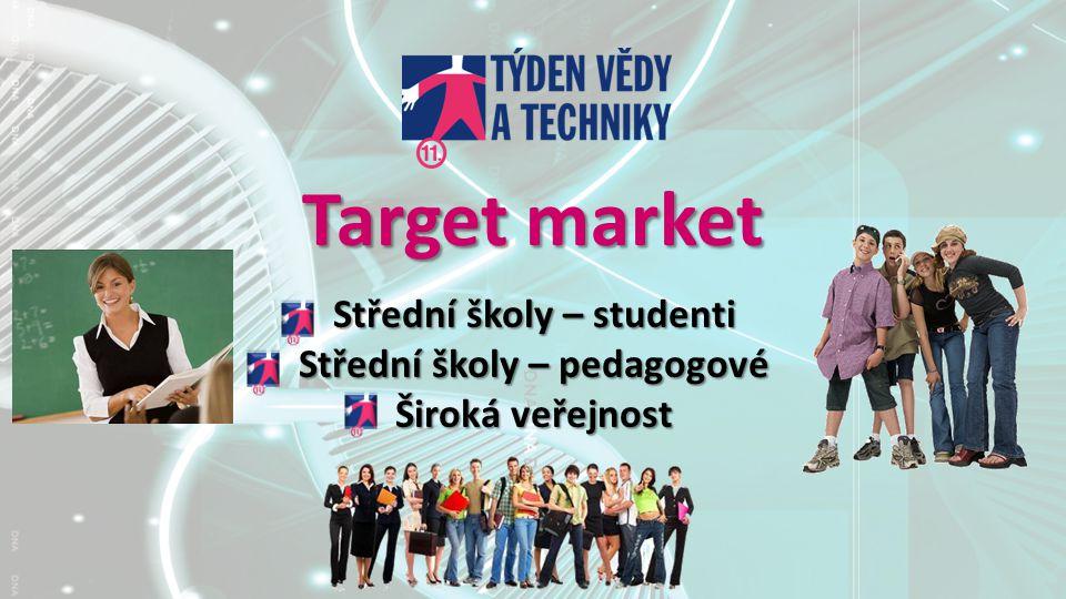 Target market Střední školy – studenti Střední školy – pedagogové Široká veřejnost