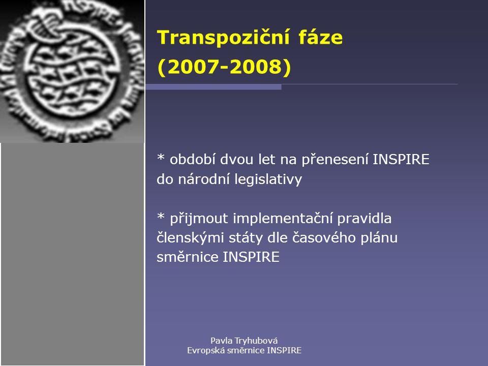 Pavla Tryhubová Evropská směrnice INSPIRE Transpoziční fáze (2007-2008) * období dvou let na přenesení INSPIRE do národní legislativy * přijmout implementační pravidla členskými státy dle časového plánu směrnice INSPIRE