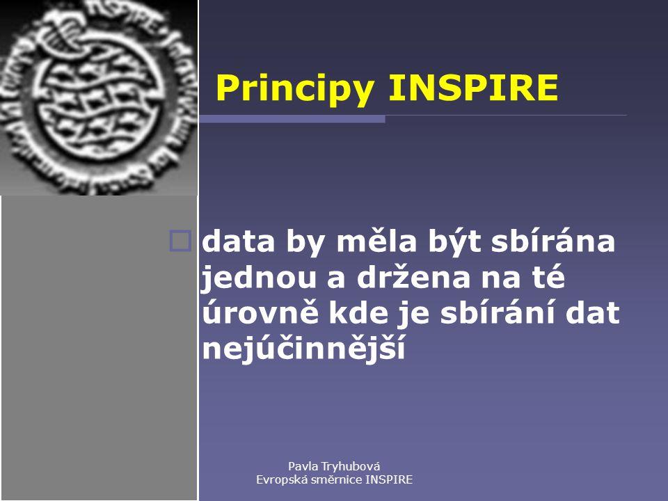 Principy INSPIRE  data by měla být sbírána jednou a držena na té úrovně kde je sbírání dat nejúčinnější