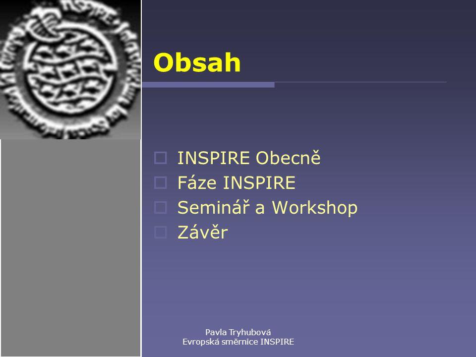 Pavla Tryhubová Evropská směrnice INSPIRE Obsah  INSPIRE Obecně  Fáze INSPIRE  Seminář a Workshop  Závěr
