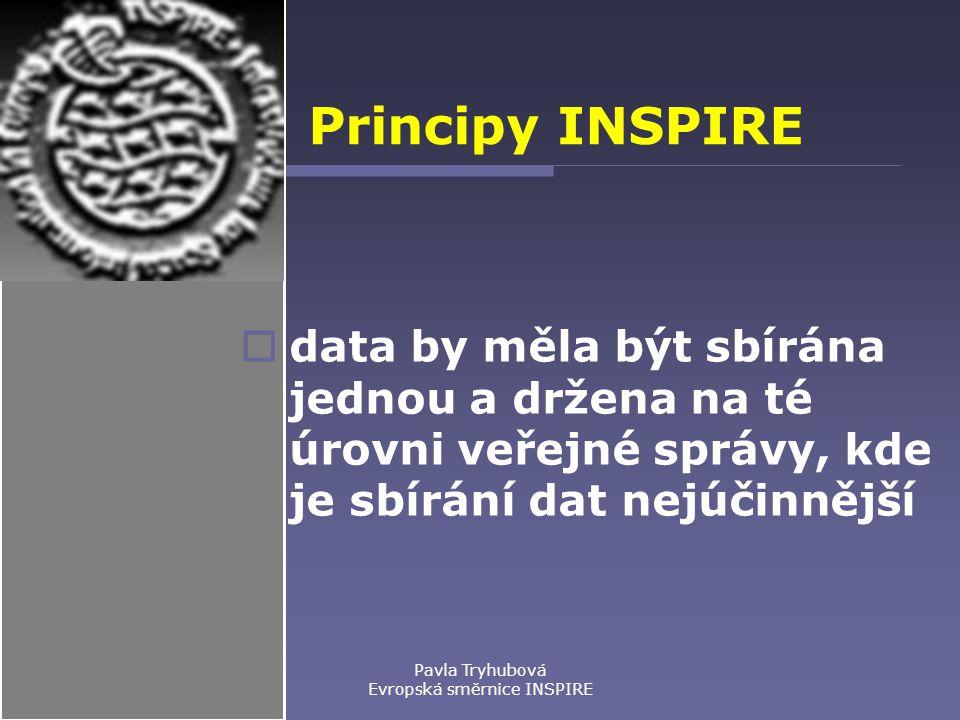 Pavla Tryhubová Evropská směrnice INSPIRE Principy INSPIRE  data by měla být sbírána jednou a držena na té úrovni veřejné správy, kde je sbírání dat nejúčinnější