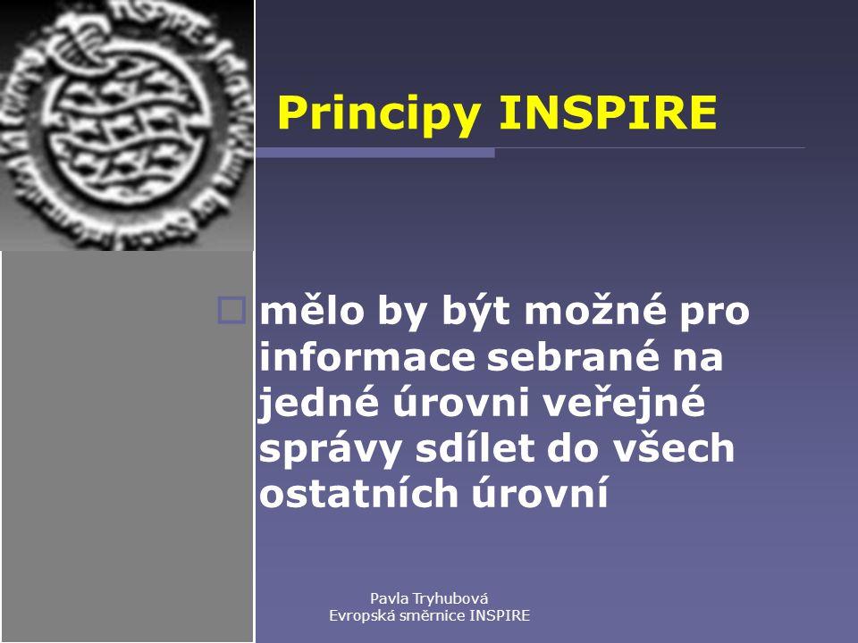 Pavla Tryhubová Evropská směrnice INSPIRE Principy INSPIRE  mělo by být možné pro informace sebrané na jedné úrovni veřejné správy sdílet do všech ostatních úrovní