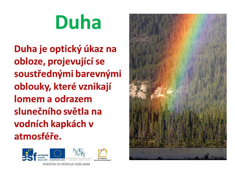 Duha Duha je optický úkaz na obloze, projevující se soustřednými barevnými oblouky, které vznikají lomem a odrazem slunečního světla na vodních kapkách v atmosféře.