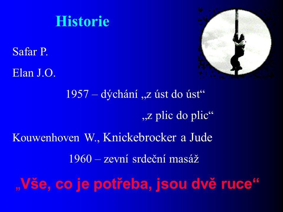 """Historie Safar P. Elan J.O. 1957 – dýchání """"z úst do úst"""" """"z plic do plic"""" Kouwenhoven W., Knickebrocker a Jude 1960 – zevní srdeční masáž """"Vše, co je"""