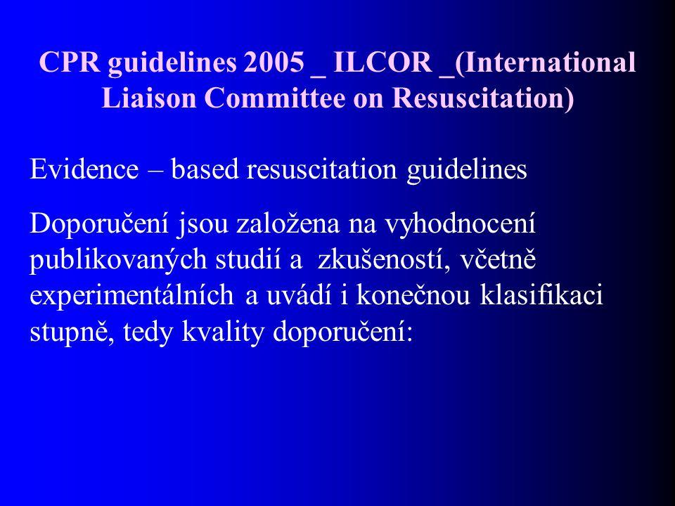 CPR guidelines 2005 _ ILCOR _(International Liaison Committee on Resuscitation) Evidence – based resuscitation guidelines Doporučení jsou založena na