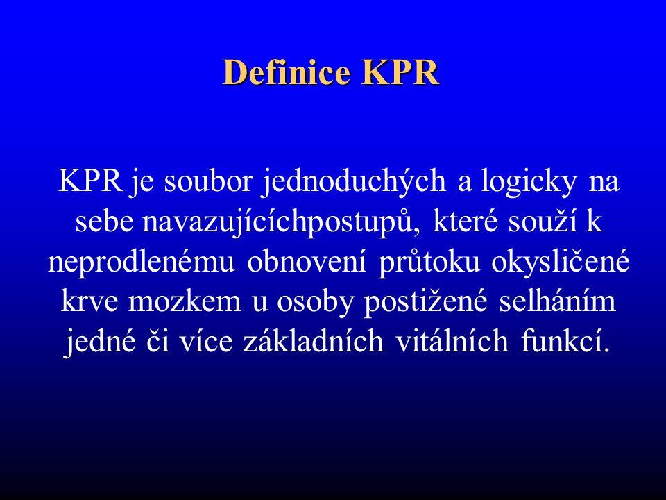 Definice KPR KPR je soubor jednoduchých a logicky na sebe navazujícíchpostupů, které souží k neprodlenému obnovení průtoku okysličené krve mozkem u os