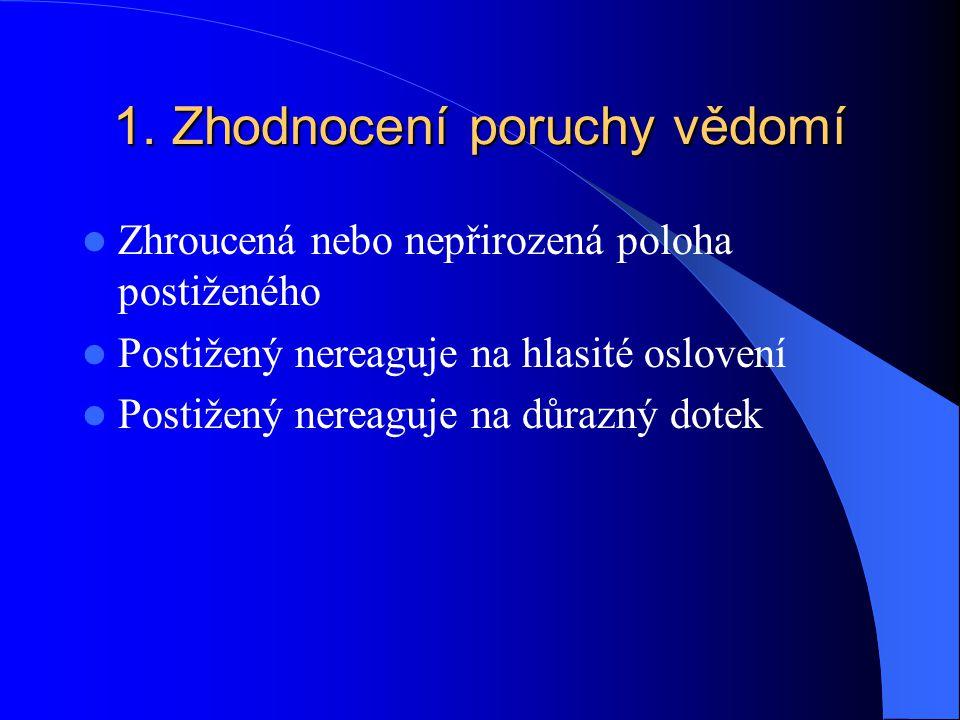 1. Zhodnocení poruchy vědomí Zhroucená nebo nepřirozená poloha postiženého Postižený nereaguje na hlasité oslovení Postižený nereaguje na důrazný dote