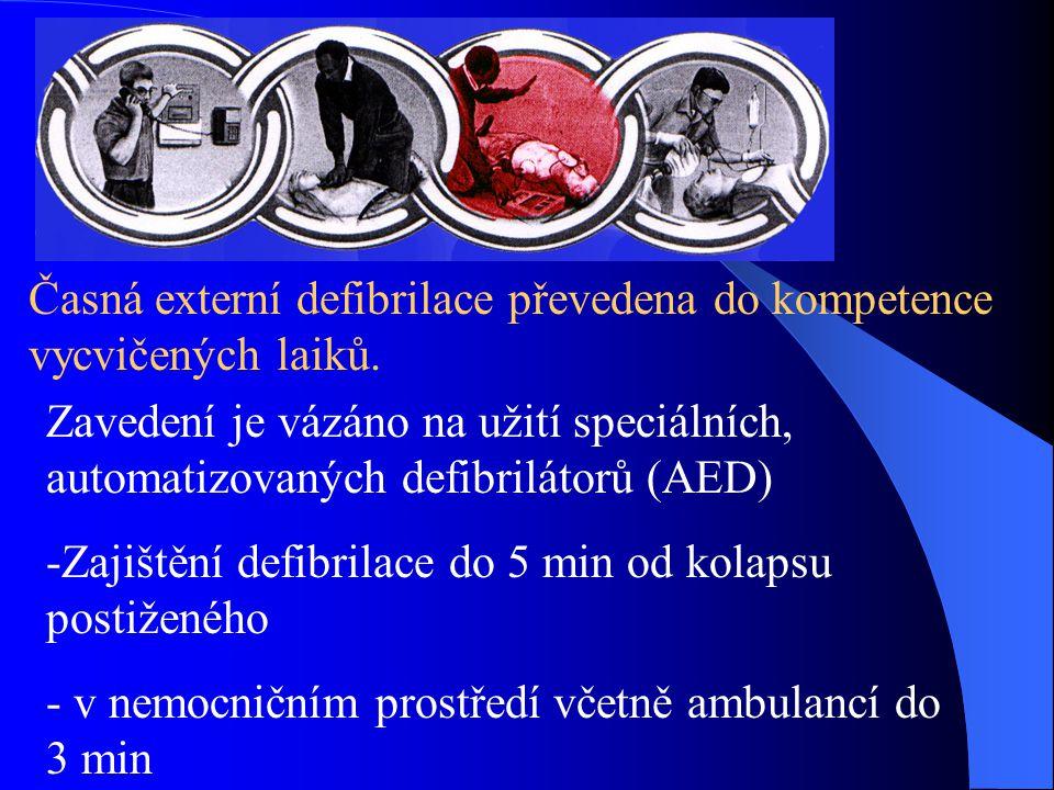 Časná externí defibrilace převedena do kompetence vycvičených laiků. Zavedení je vázáno na užití speciálních, automatizovaných defibrilátorů (AED) -Za