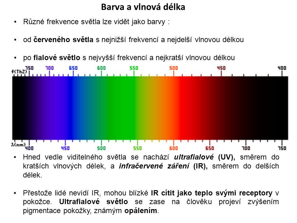 Barva a vlnová délka Různé frekvence světla lze vidět jako barvy : od červeného světla s nejnižší frekvencí a nejdelší vlnovou délkou po fialové světl
