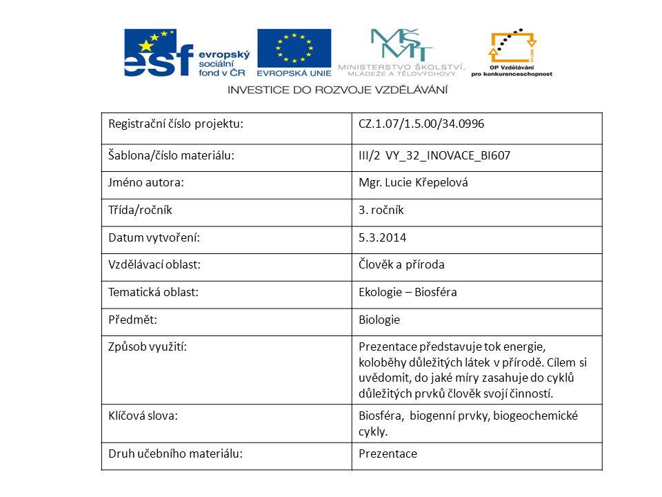 Registrační číslo projektu:CZ.1.07/1.5.00/34.0996 Šablona/číslo materiálu:III/2 VY_32_INOVACE_BI607 Jméno autora:Mgr. Lucie Křepelová Třída/ročník3. r