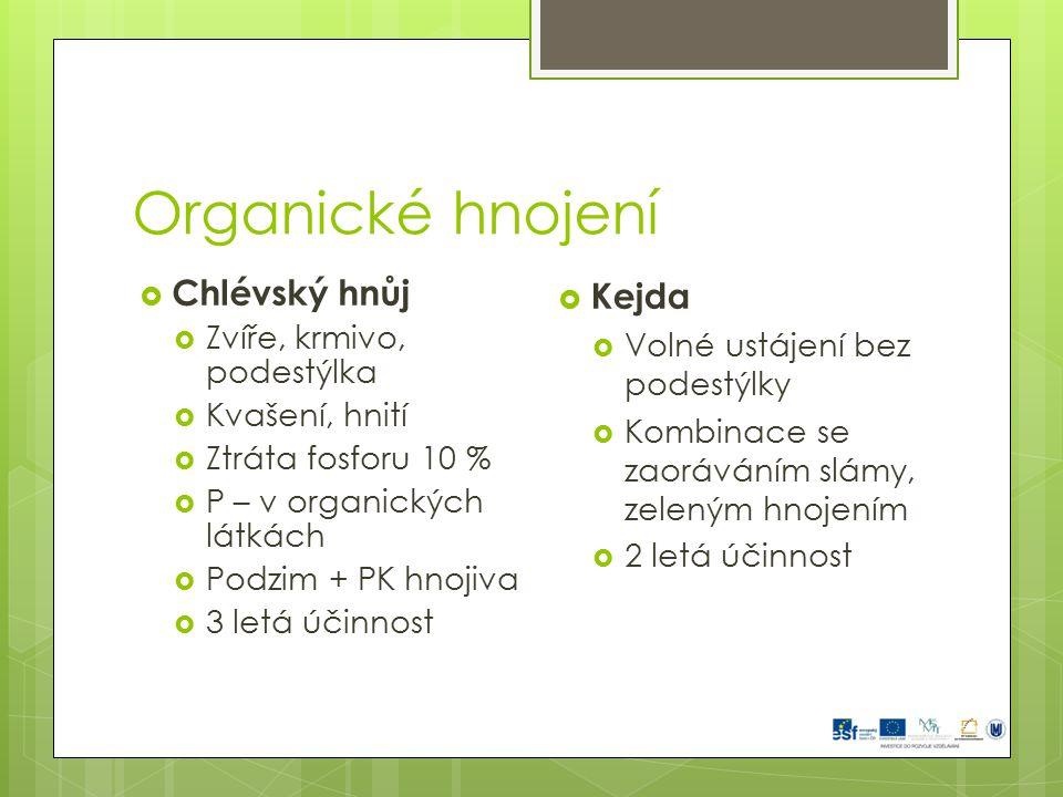 Organické hnojení  Chlévský hnůj  Zvíře, krmivo, podestýlka  Kvašení, hnití  Ztráta fosforu 10 %  P – v organických látkách  Podzim + PK hnojiva