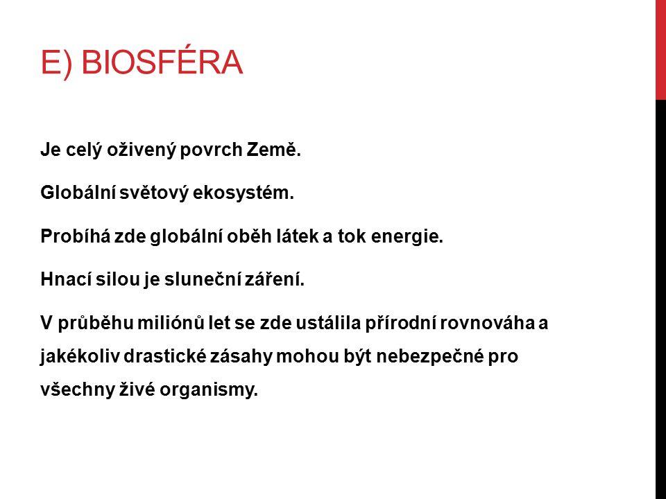 E) BIOSFÉRA Je celý oživený povrch Země. Globální světový ekosystém.