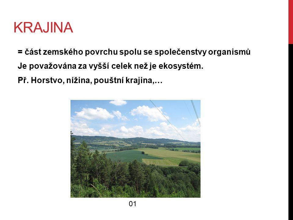 KRAJINA = část zemského povrchu spolu se společenstvy organismů Je považována za vyšší celek než je ekosystém.