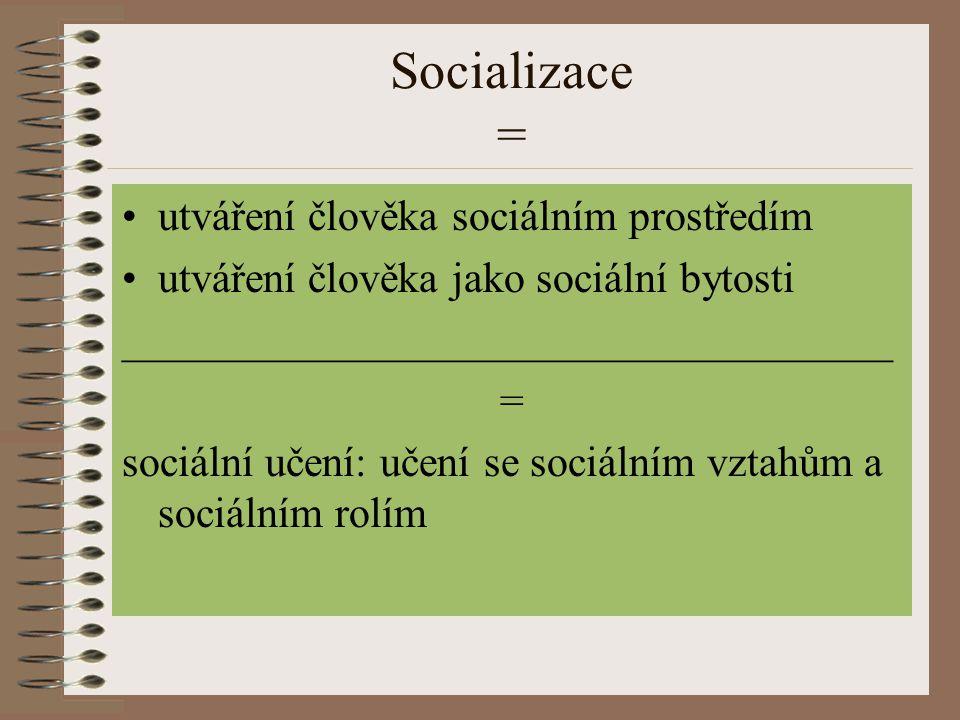 Socializace = utváření člověka sociálním prostředím utváření člověka jako sociální bytosti ____________________________________ = sociální učení: učen