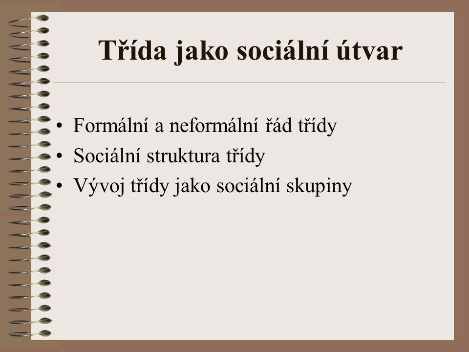 Třída jako sociální útvar Formální a neformální řád třídy Sociální struktura třídy Vývoj třídy jako sociální skupiny