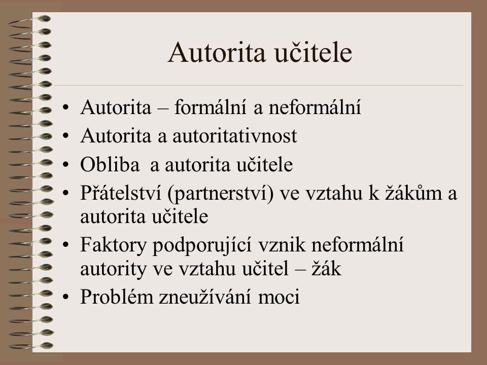 Autorita učitele Autorita – formální a neformální Autorita a autoritativnost Obliba a autorita učitele Přátelství (partnerství) ve vztahu k žákům a au