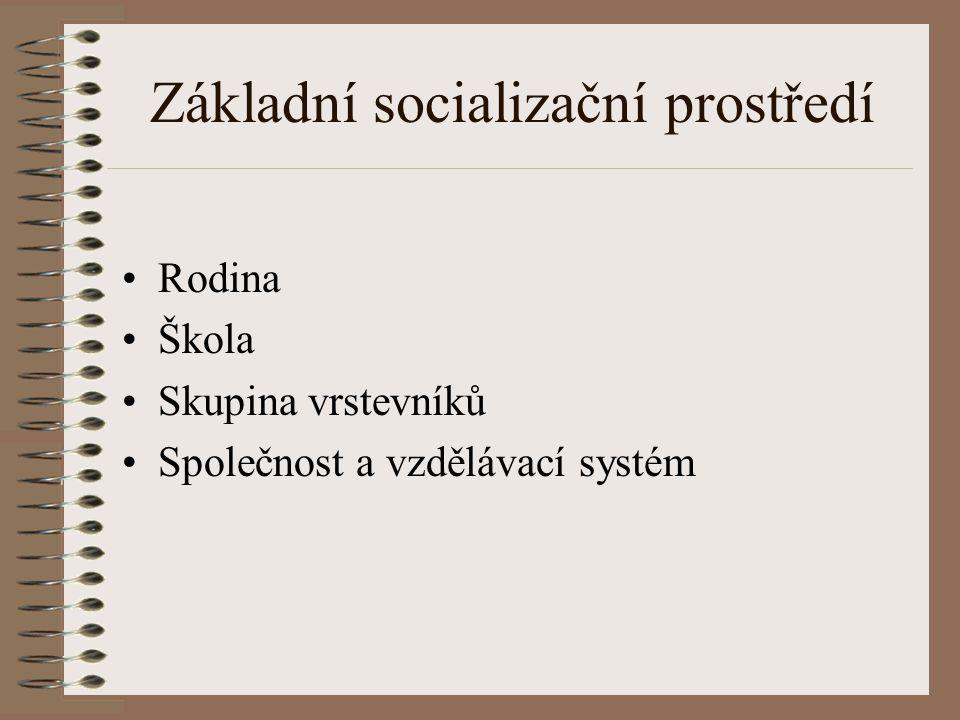 Základní socializační prostředí Rodina Škola Skupina vrstevníků Společnost a vzdělávací systém