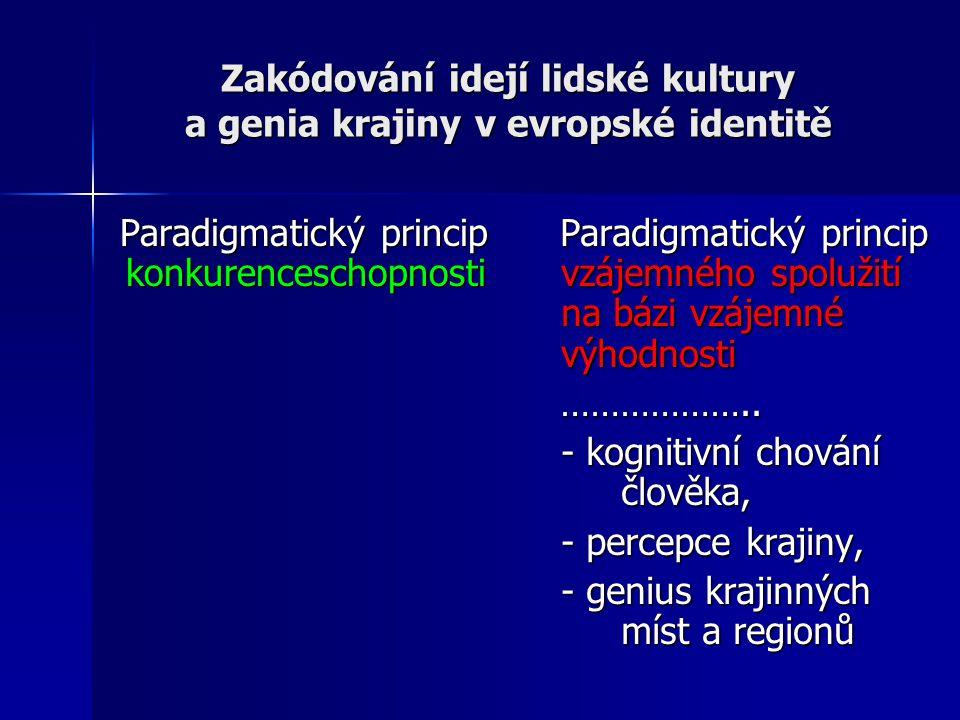 Zakódování idejí lidské kultury a genia krajiny v evropské identitě Paradigmatický princip konkurenceschopnosti Paradigmatický princip konkurenceschopnosti Paradigmatický princip vzájemného spolužití na bázi vzájemné výhodnosti Paradigmatický princip vzájemného spolužití na bázi vzájemné výhodnosti ………………..