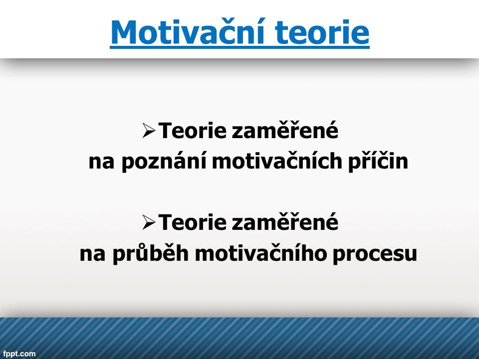 Motivační teorie  Teorie zaměřené na poznání motivačních příčin  Teorie zaměřené na průběh motivačního procesu