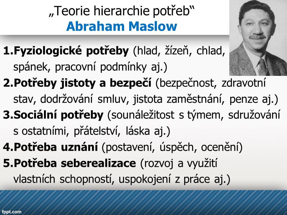 """""""Teorie hierarchie potřeb"""" Abraham Maslow 1.Fyziologické potřeby (hlad, žízeň, chlad, spánek, pracovní podmínky aj.) 2.Potřeby jistoty a bezpečí (bezp"""