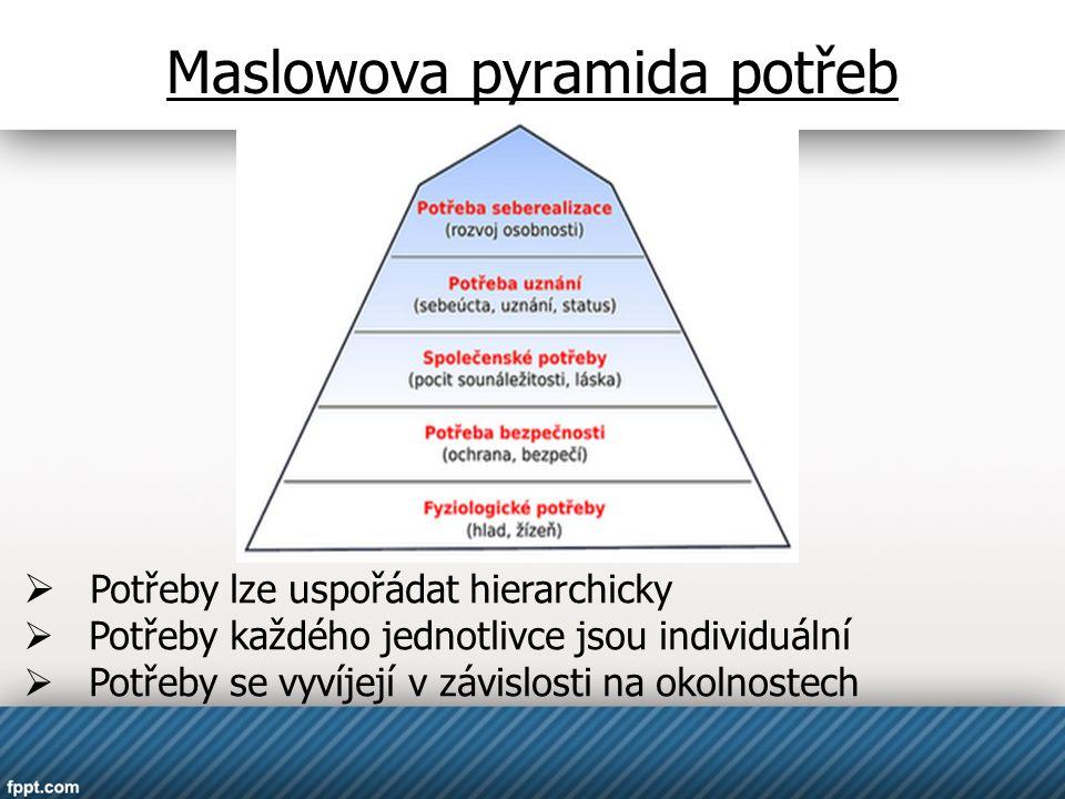 Maslowova pyramida potřeb  Potřeby lze uspořádat hierarchicky  Potřeby každého jednotlivce jsou individuální  Potřeby se vyvíjejí v závislosti na o