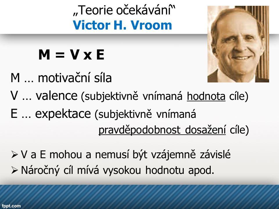 """""""Teorie očekávání"""" Victor H. Vroom M = V x E M … motivační síla V … valence (subjektivně vnímaná hodnota cíle) E … expektace (subjektivně vnímaná prav"""