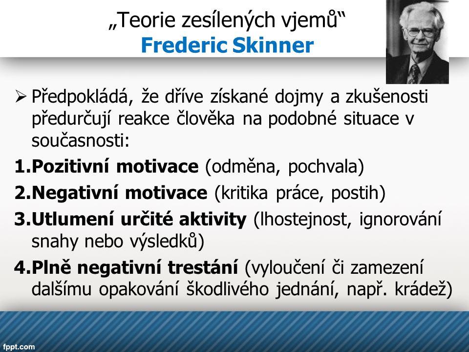 """""""Teorie zesílených vjemů Frederic Skinner  Předpokládá, že dříve získané dojmy a zkušenosti předurčují reakce člověka na podobné situace v současnosti: 1.Pozitivní motivace (odměna, pochvala) 2.Negativní motivace (kritika práce, postih) 3.Utlumení určité aktivity (lhostejnost, ignorování snahy nebo výsledků) 4.Plně negativní trestání (vyloučení či zamezení dalšímu opakování škodlivého jednání, např."""