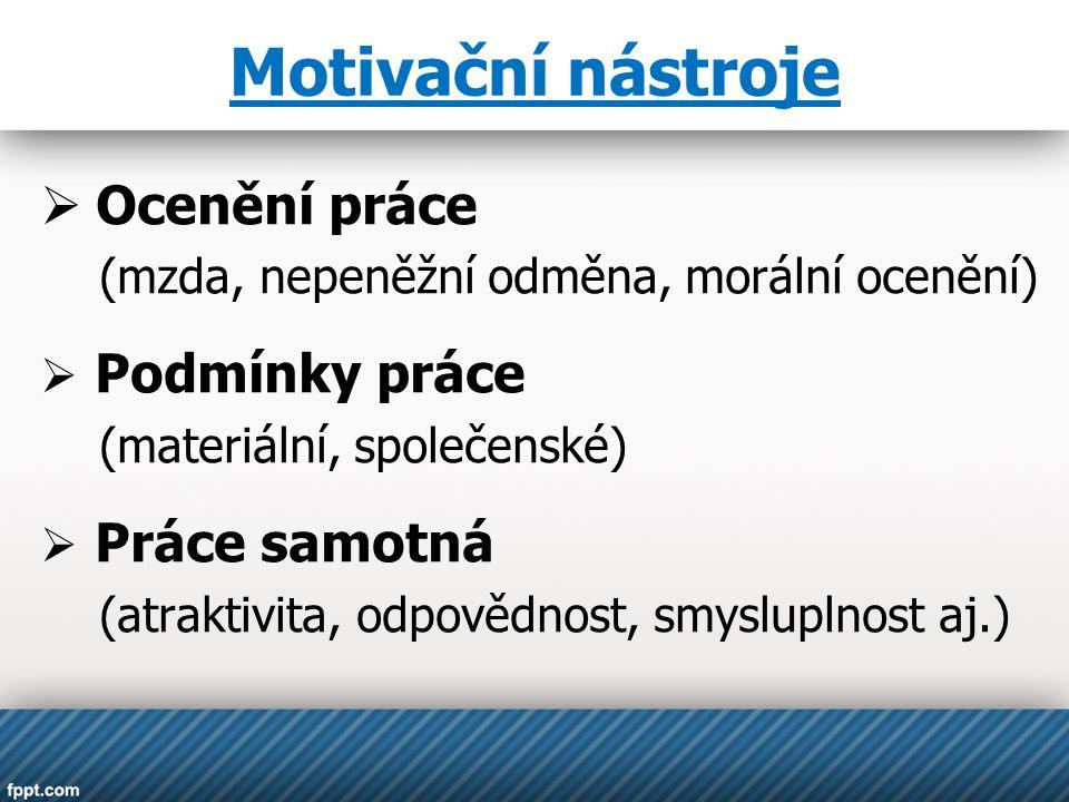 Motivační nástroje  Ocenění práce (mzda, nepeněžní odměna, morální ocenění)  Podmínky práce (materiální, společenské)  Práce samotná (atraktivita, odpovědnost, smysluplnost aj.)