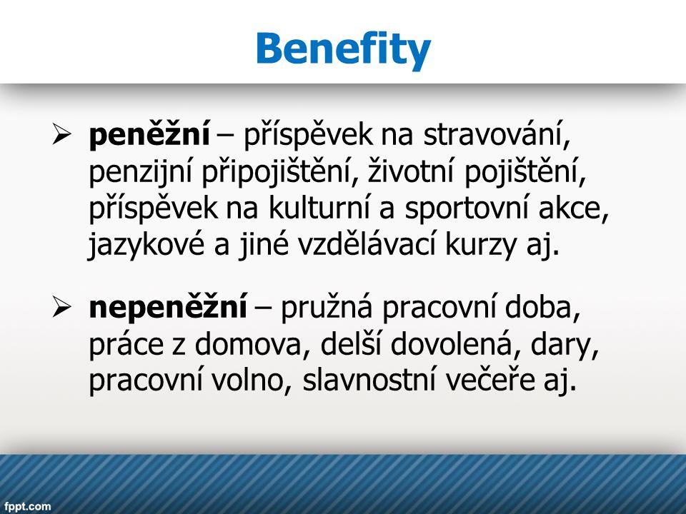 Benefity  peněžní – příspěvek na stravování, penzijní připojištění, životní pojištění, příspěvek na kulturní a sportovní akce, jazykové a jiné vzdělávací kurzy aj.