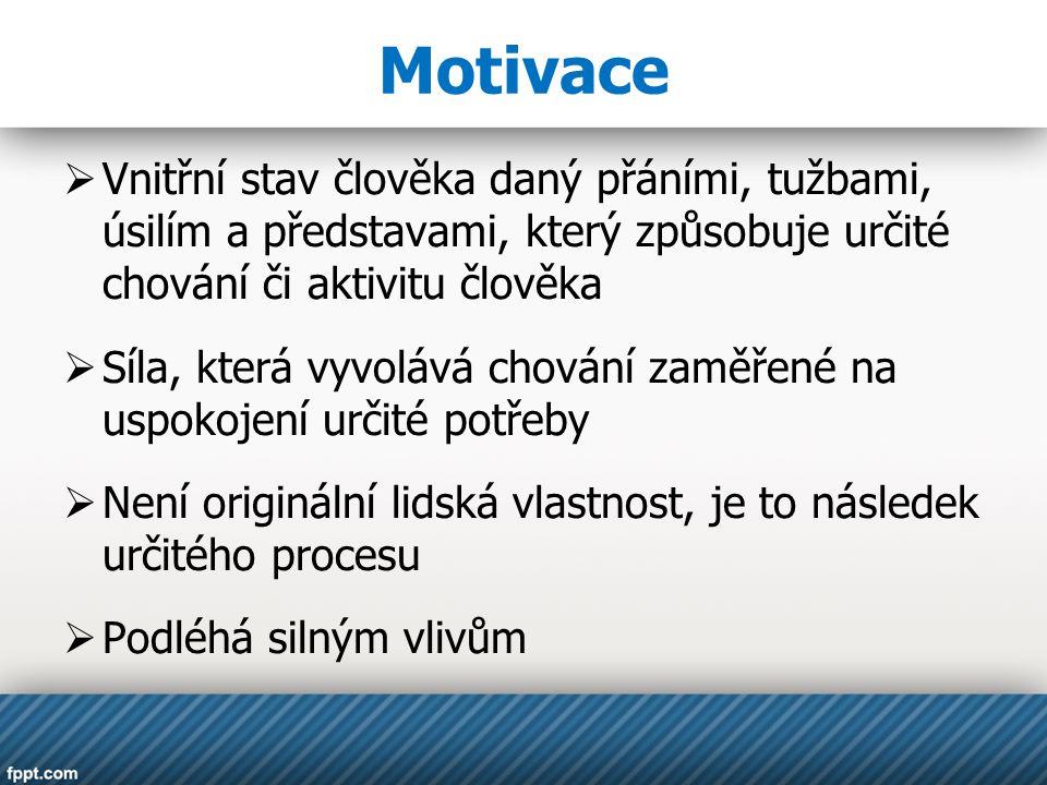Motivace  Vnitřní stav člověka daný přáními, tužbami, úsilím a představami, který způsobuje určité chování či aktivitu člověka  Síla, která vyvolává