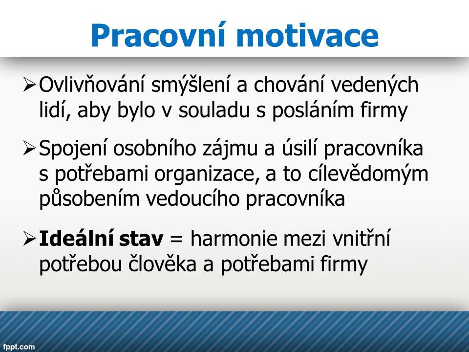 Pracovní motivace  Ovlivňování smýšlení a chování vedených lidí, aby bylo v souladu s posláním firmy  Spojení osobního zájmu a úsilí pracovníka s po